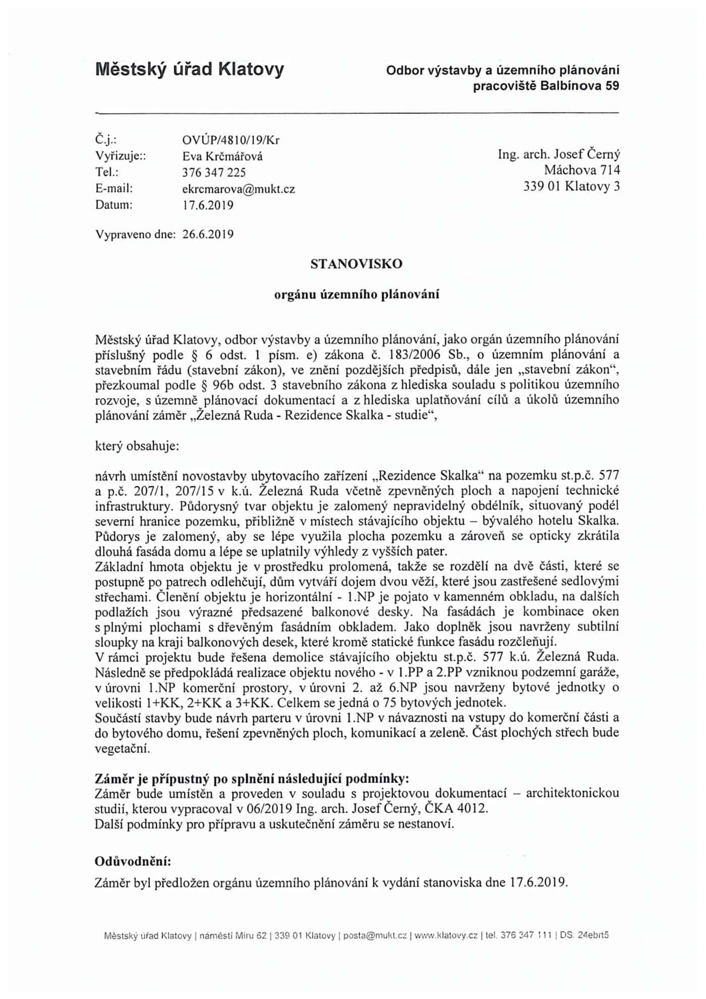 Odbor-vystavby-MU-Klatovy-vyjadreni-Rezidence-Skalka-cerven-2019-1