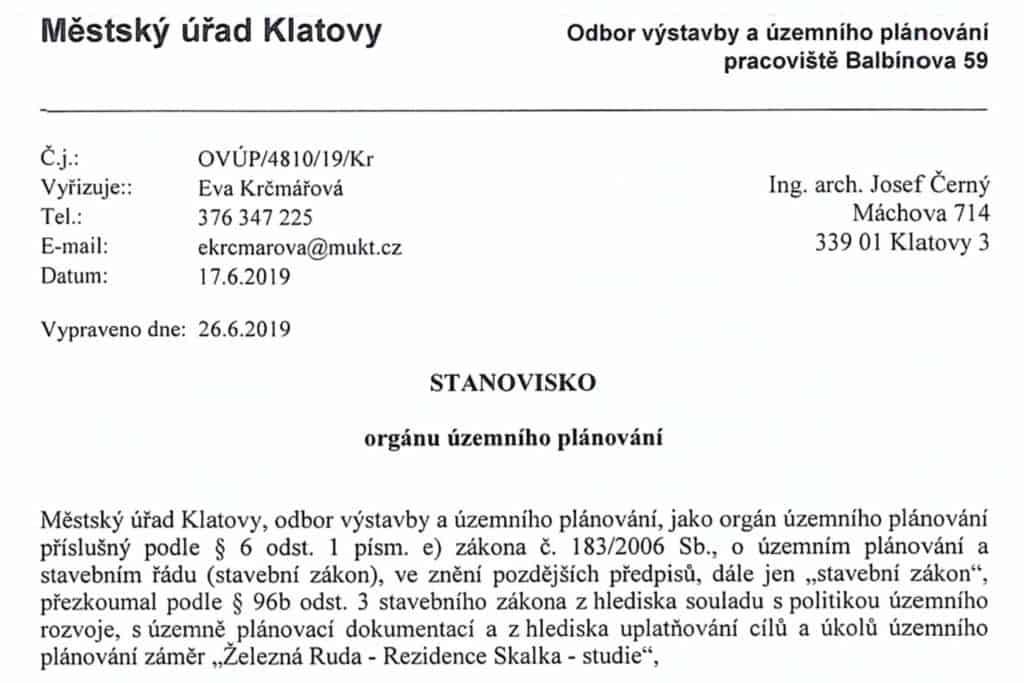 Odbor-vystavby-MU-Klatovy-vyjadreni-Rezidence-Skalka-cerven-2019-2